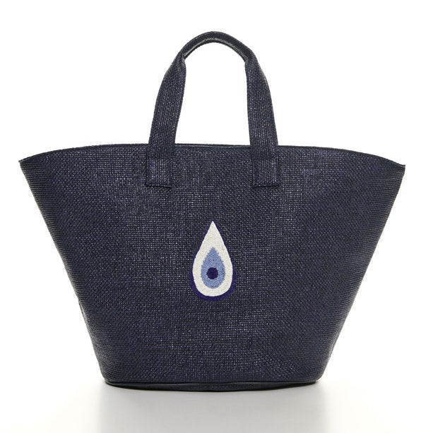 Raffia Evil Eye Beach Bag