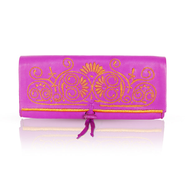 Pink And Orange Leather Clutch