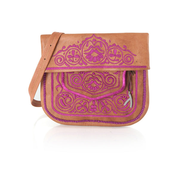 Tan And Pink Leather Berber Shoulder Bag