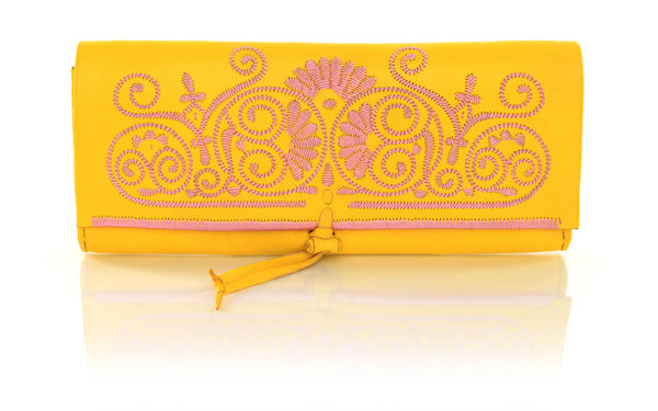 Yellow And Rose Leather Clutch
