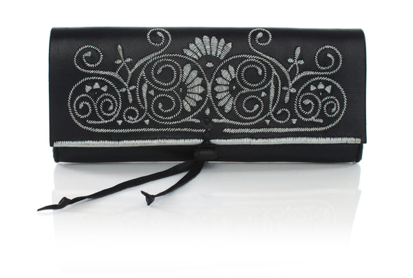 Black And Silver Leather Clutch