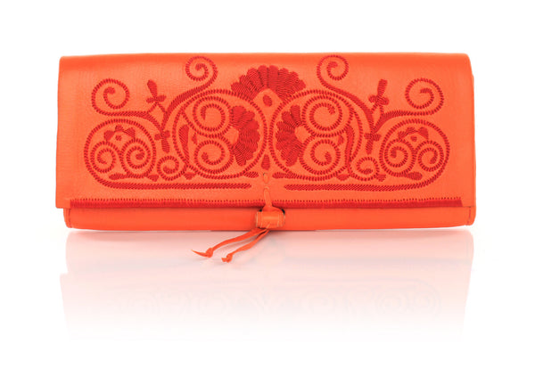 Orange And Red Leather Clutch