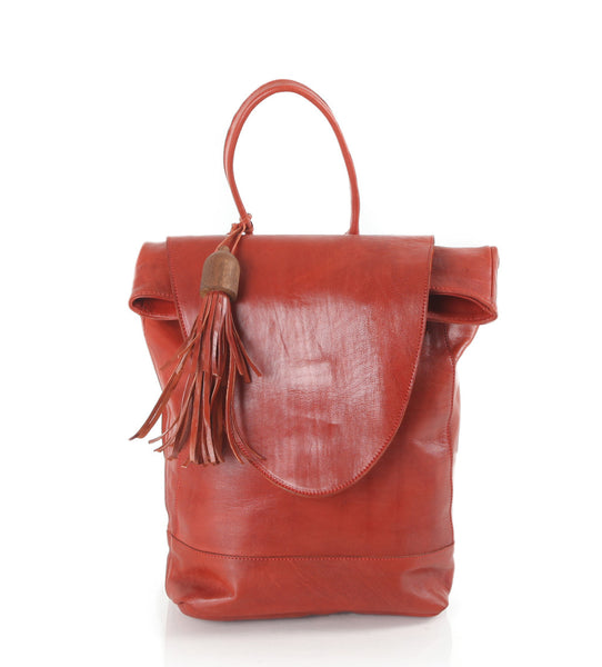 Red Leather Marrakesh Backpack