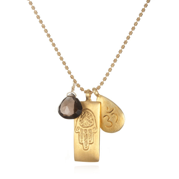 Hamsa Smokey Quartz Necklace