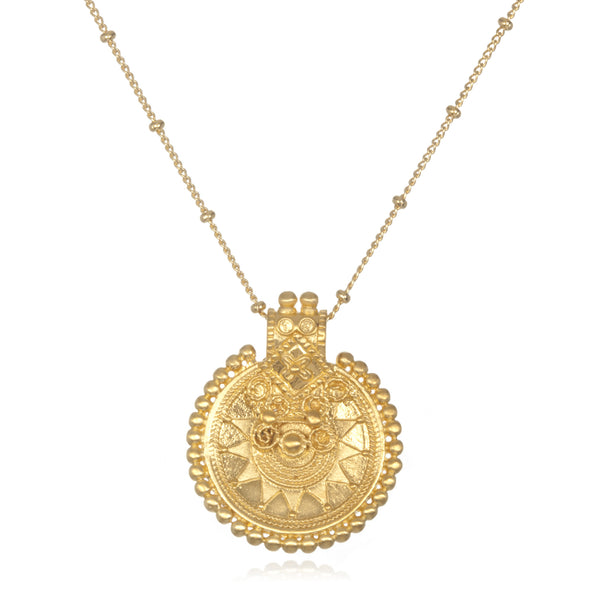 Mandala Sun Brass Necklace