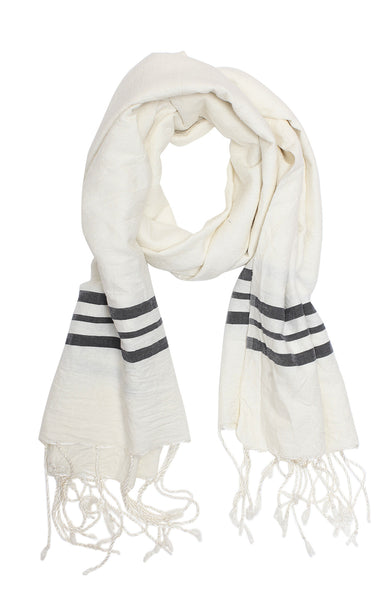 Natural Navy Silk Stripe Edge Kenmer Scarf & Sarong