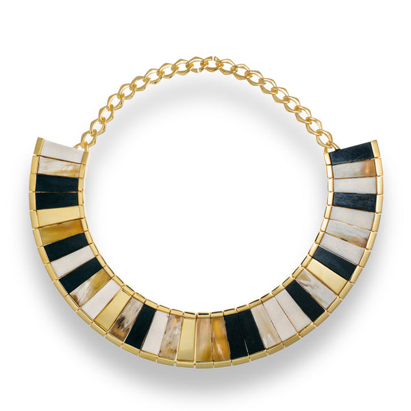 18K Gold Plated Saba Horn Choker Necklace