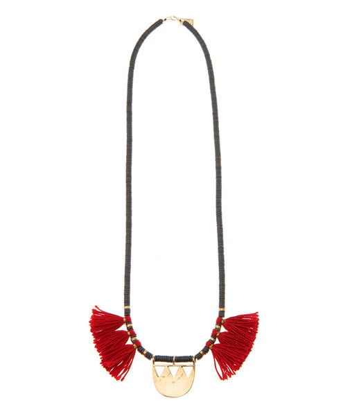Black Rubber Bead Red Tassel Nomad Necklace