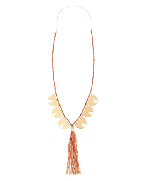 Coral Bali Tassel Necklace