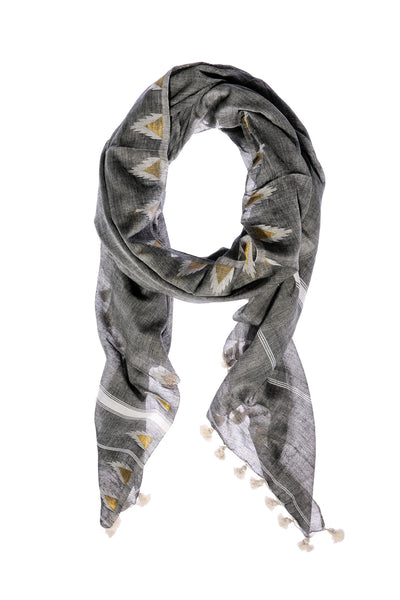 Grey Double Temple Cotton Scarf