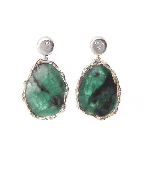 Tenam Silver and Emerald Drop Earrings