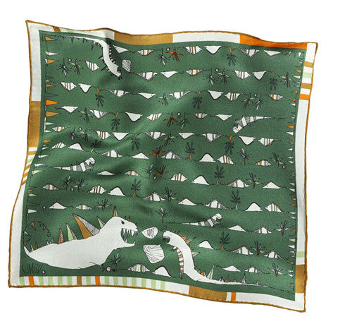 Roarrrrrr Green Silk Pocket Square