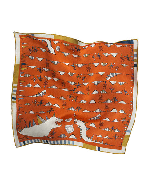 Roarrrrr Orange Silk Pocket Square