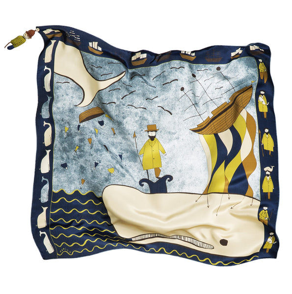 Moby Dick Blue Silk Scarf