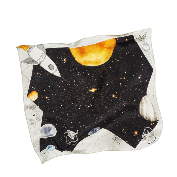 Rocket Man Black & Cream Silk Scarf