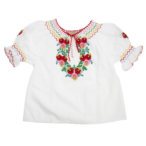 White Embroidered Kids Dora Top