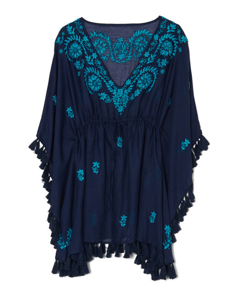 Navy Cotton Indian Embroidered Tunic