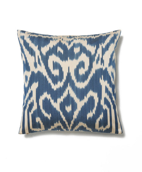 Blue and Cream Abstract Cotton Ikat Cushion Cover