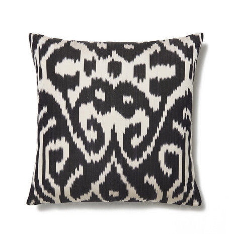 Black and Ivory Abstract Cotton Ikat Cushion Cover