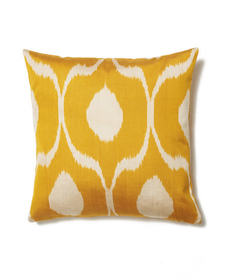 Orange and White Cotton Ikat Cushion Cover