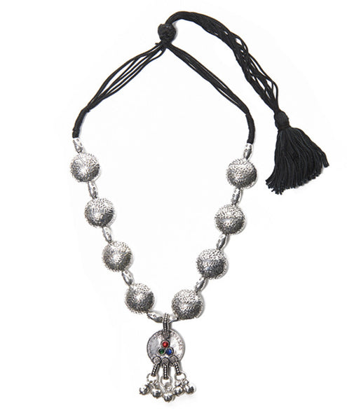 Silver Base Metal and Thread Tribal Tassel Necklace