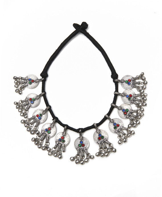 Silver Base Metal and Multi Thread Tribal Necklace
