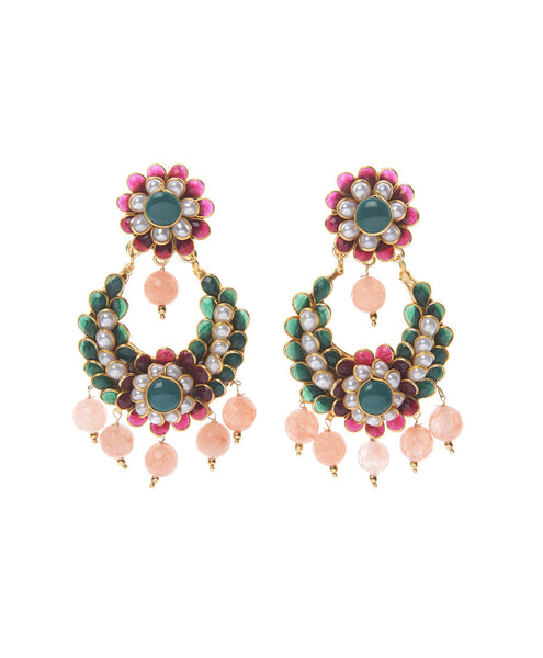 Pink and Green Bead Ornament Earrings