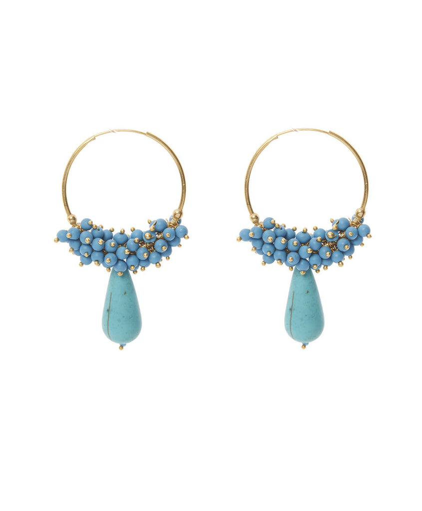 Bali Turquoise Hoop Earrings