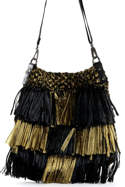 Black and Military Pilar Damie Raffia Fringe Bag