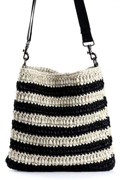 Black and Cream Lupiloo Raffia Bag