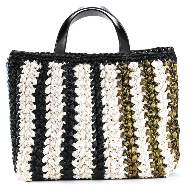 Black Cream and Military Mary Ann Raffia Tote