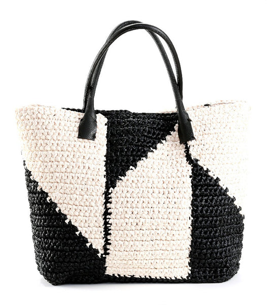 Black and Cream Linda Lou Raffia Tote