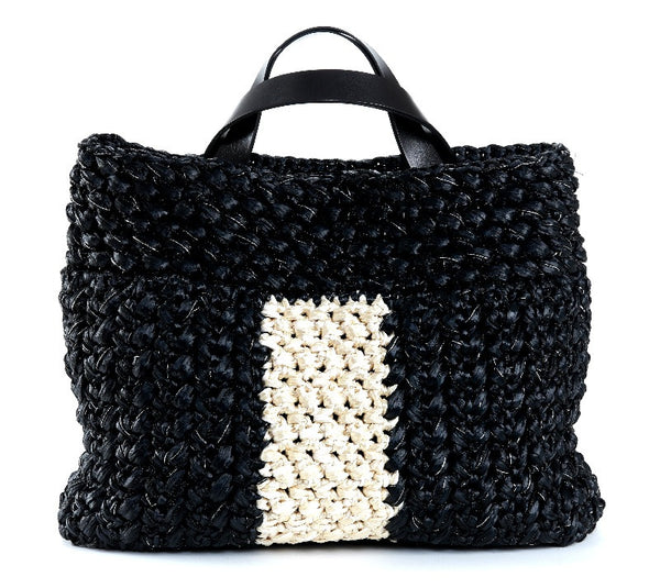 Black and Cream Peggy Sue Osaka Raffia Tote
