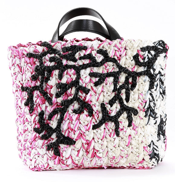 Pink and Black Coral Raffia Tote