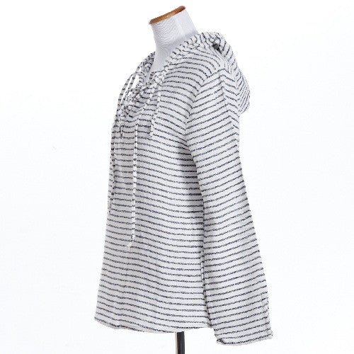 Criss Cross Cotton Striped Hoodie