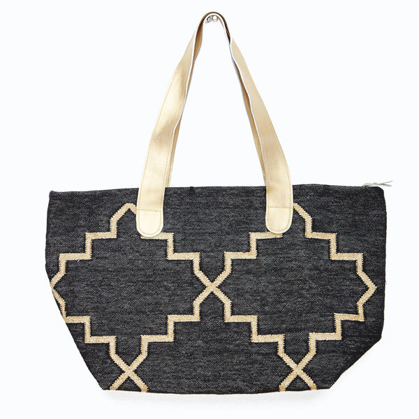 Black Dhurrie Carry All Tote
