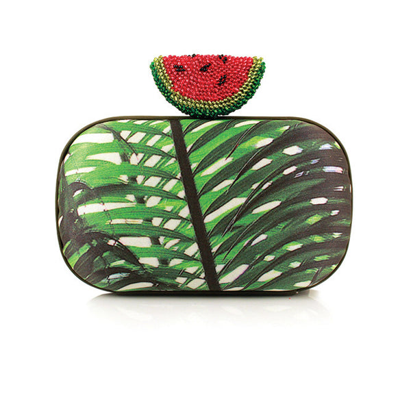 Box Watermelon Palm Clutch