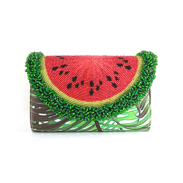 Mini Curved Watermelon Palm Clutch