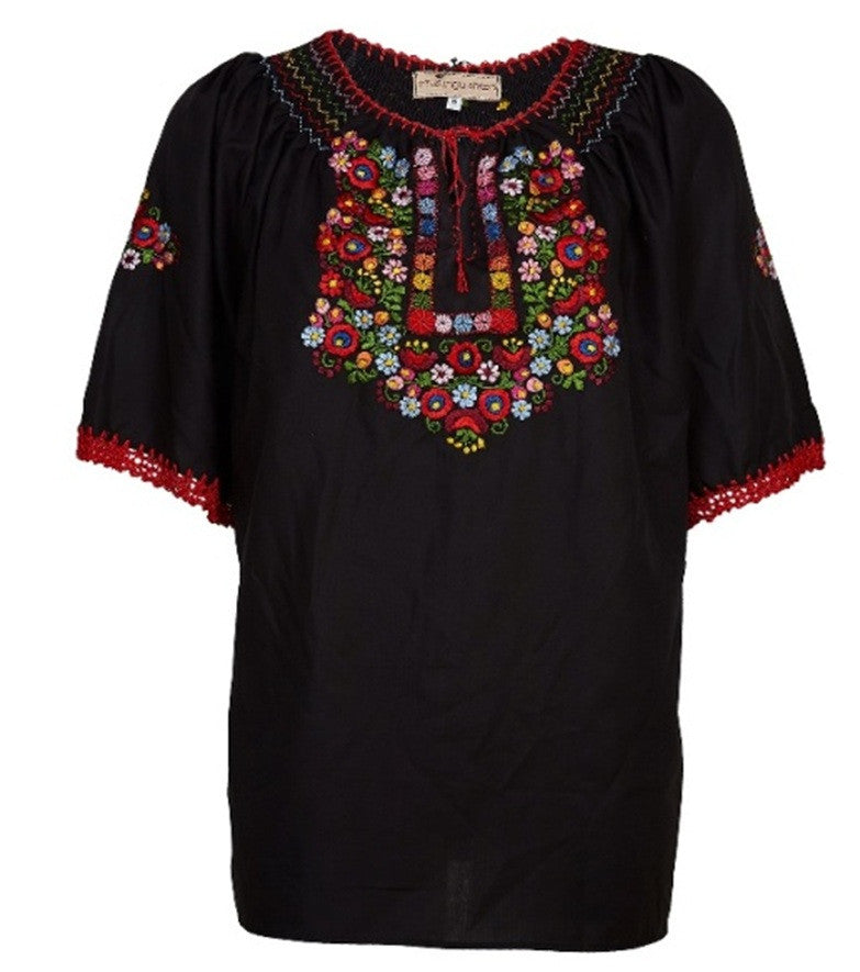 Black Embroidered Cotton Top