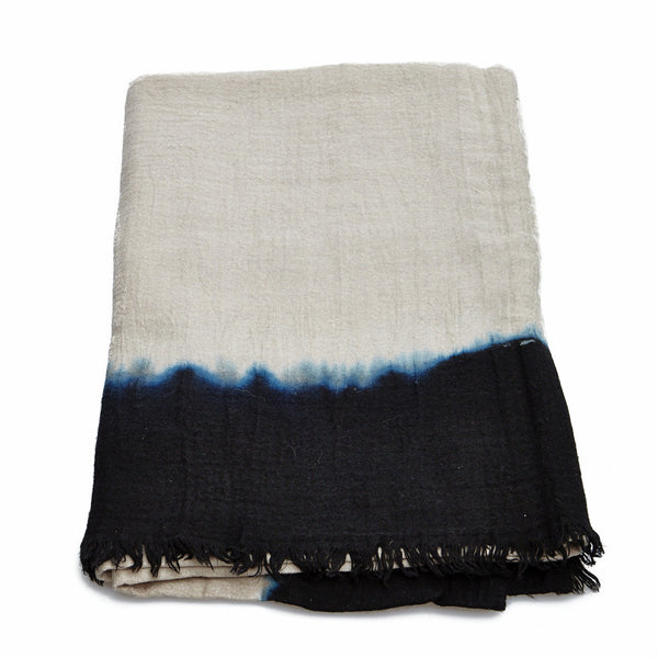 Blue and Cream Wool Fringe Blanket