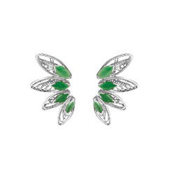 Emerald Sterling Silver Ear Cuffs