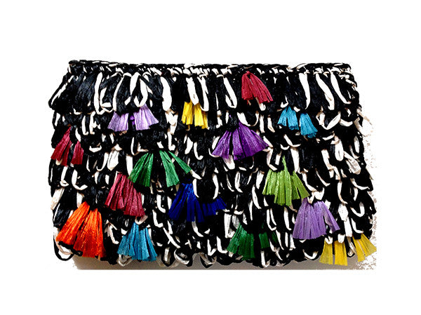 Rainbow Raffia Pillarette Clutch
