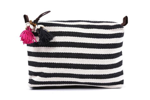 Large Black And White Valerie Cosmetic Bag