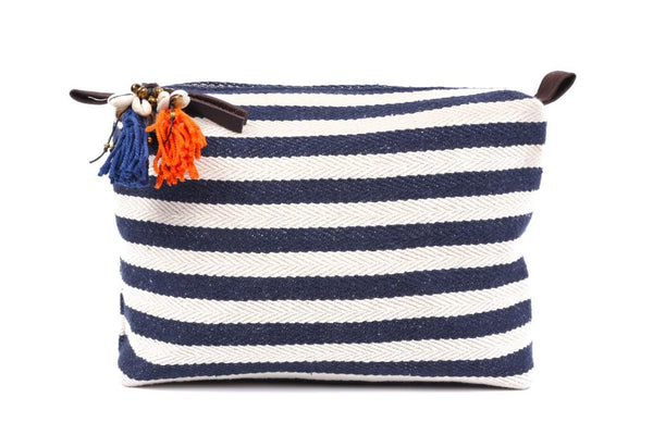 Large Navy And White Valerie Cosmetic Bag