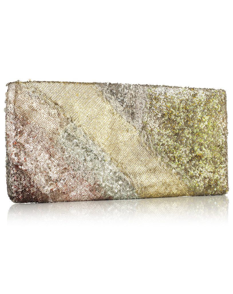 Pilowi Ochre Evening Clutch with Sequins