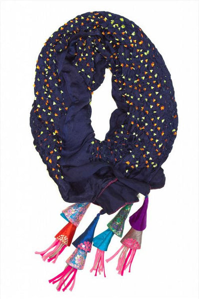 Navy Silk And Cotton Embroidered Scarf