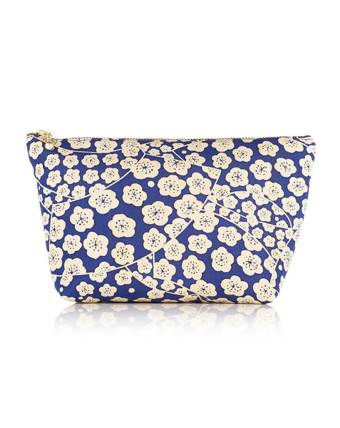 Silk Blue Floral Print Cosmetic Pouch