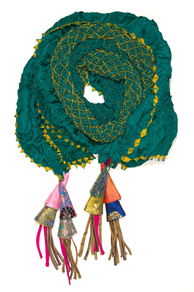 Emerald Silk Embroidered Scarf