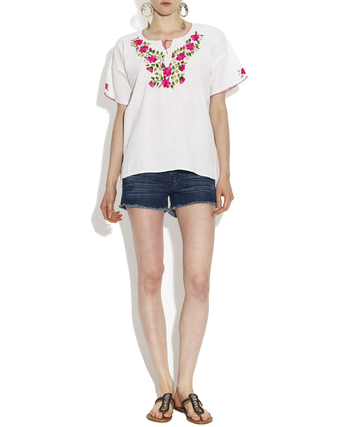 Cotton White Pink Daisy Mexican Embroidered Tunic