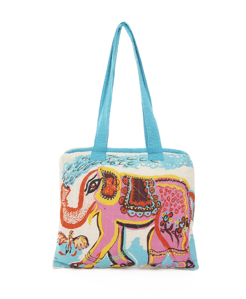Multi Quilted Handpainted Elephant Tote